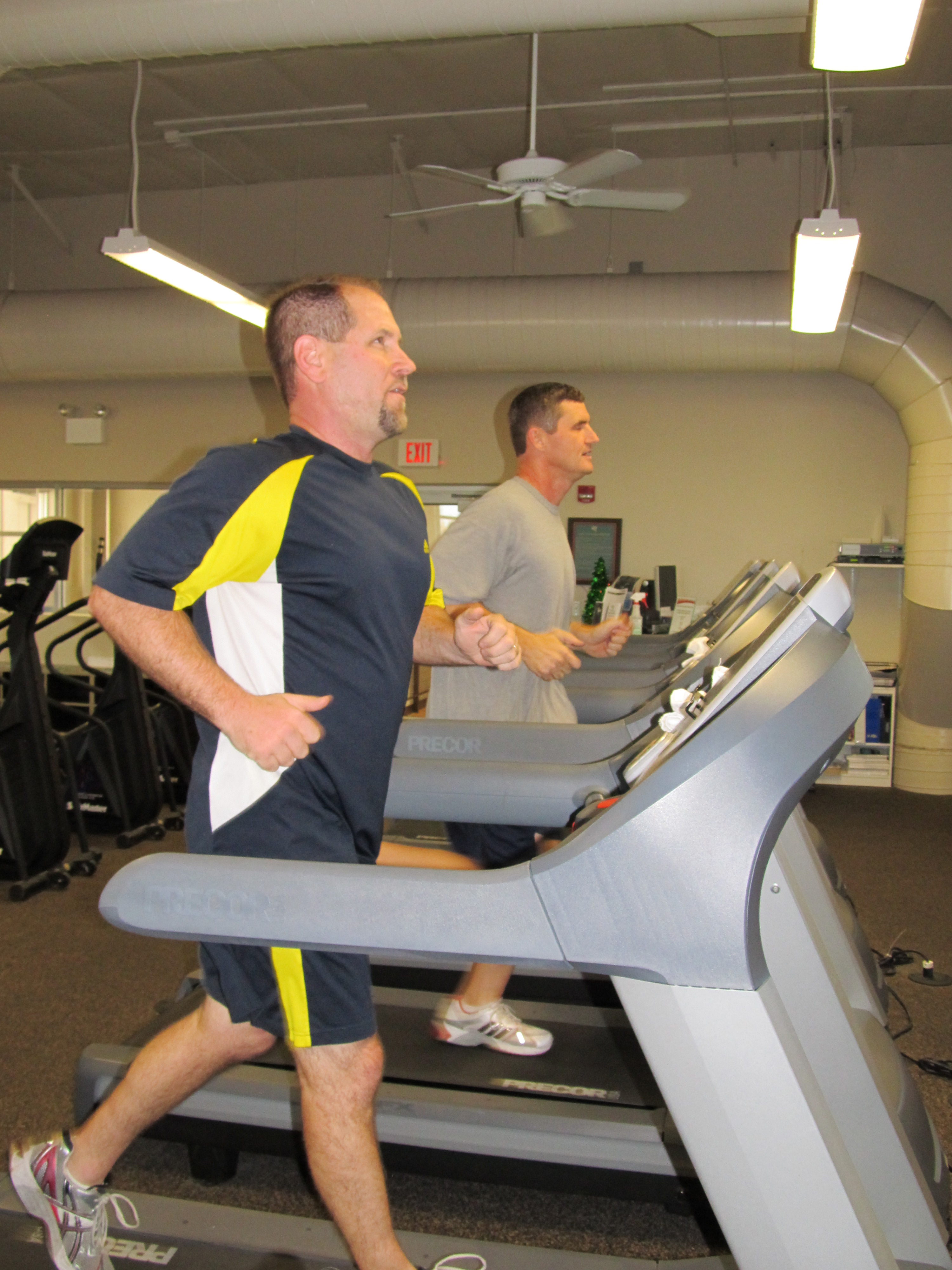 Layne and Wes on treadmills